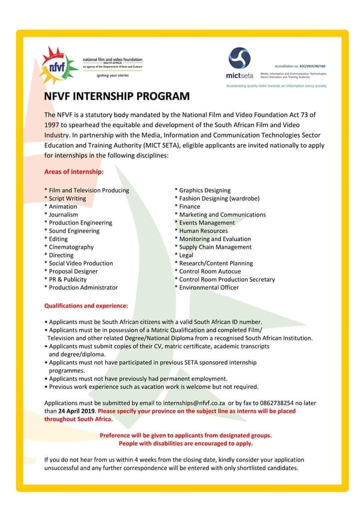 Nfvf Internship Program Opportunity 2019